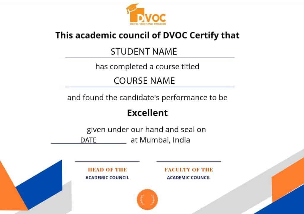 DVOC Student Certificate